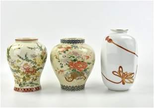 Group of 3 Japanese Enamel Porcelain Vase