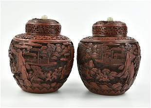 Pair of Chinese Lacquer Carved Jar, 19th C.