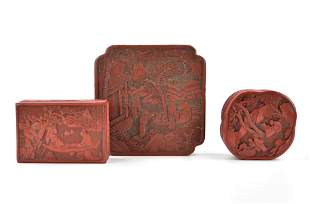 3 Chinese Red Lacquer Carved Boxes,19-20th C.