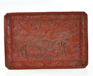 Chinese Carved Red Lacquer Tray ,19th C.