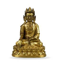 Sino-Tibetan Gilt Sakyamuni Buddha,Qianlong Period