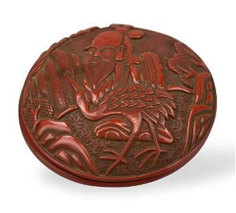 "Chinese Lacquer Box w/ ""Shou"" & Crane, 18/19th C."