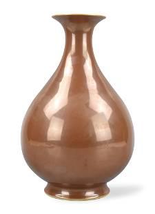 Chinese Brown Glazed Yuhuchun Vase,Qianlong Period