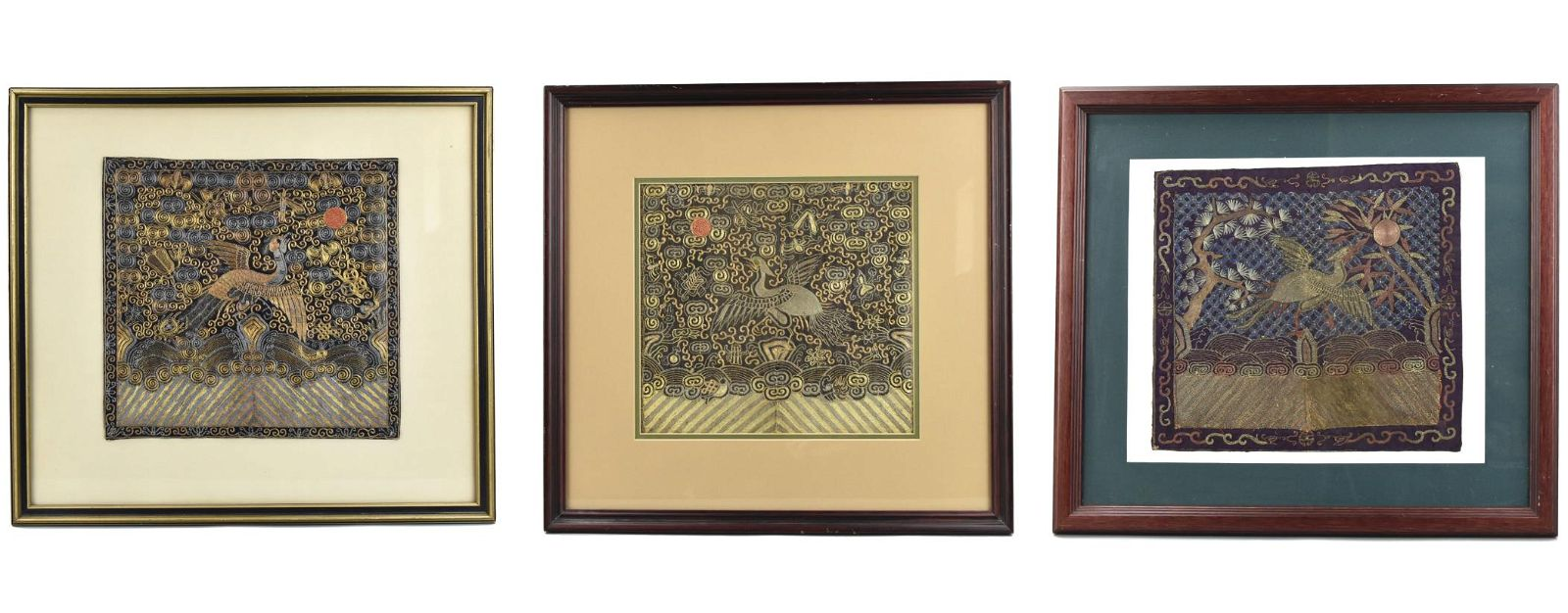 """3 Chinese Framed Embroidery Silk """"Buzi"""",Qing D."""