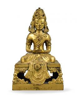 Chinese Gilt Bronze Seated Figure, 18th C.