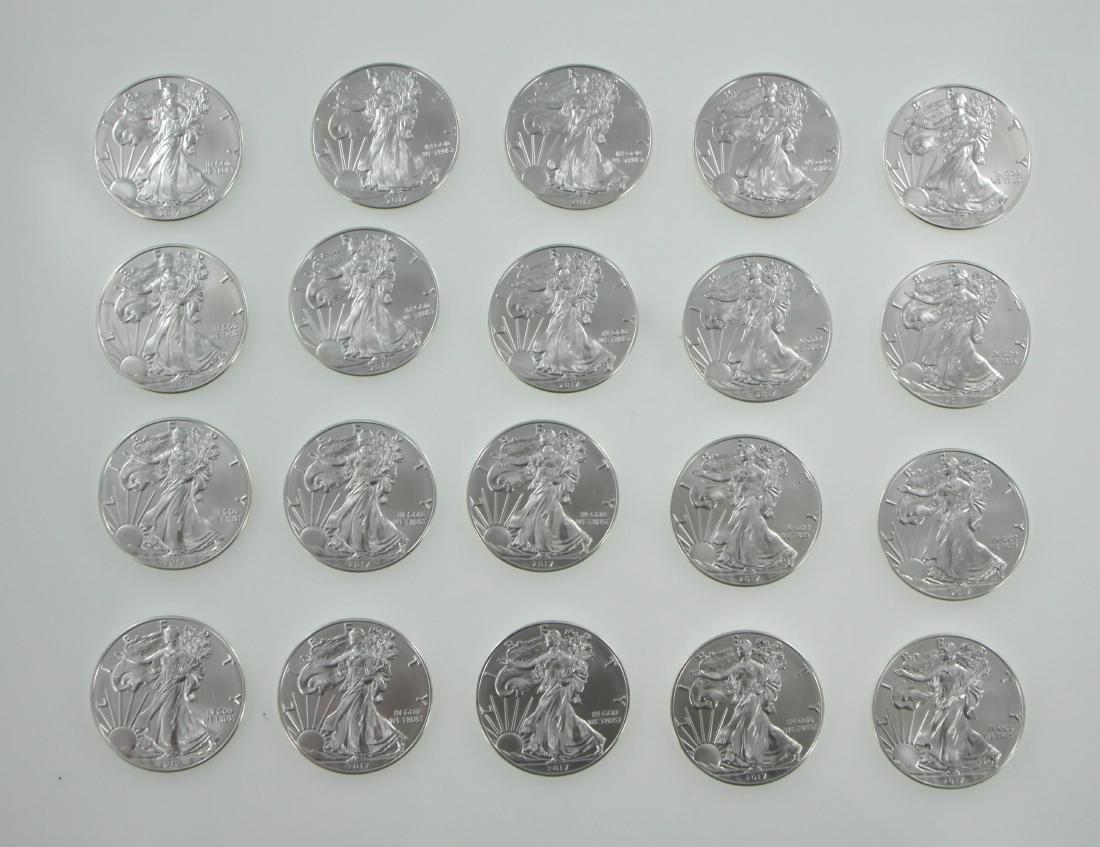 (20) 2017 1 oz American Silver Eagle BU Coins