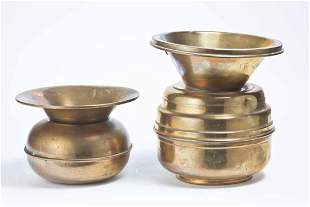 TWO BRASS SPITTOONS