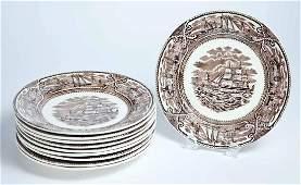 SET OF 10 STAFFORDSHIRE AMERICAN MARINE PATTERN PLATES