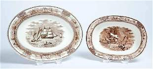 TWO STAFFORDSHIRE AMERICAN MARINE PATTERN SERVING