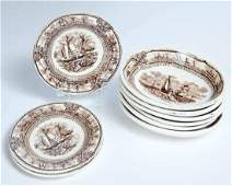 COLLECTION OF STAFFORDSHIRE AMERICAN MARINE PATTERN