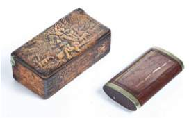 TWO WOOD SNUFF BOXES