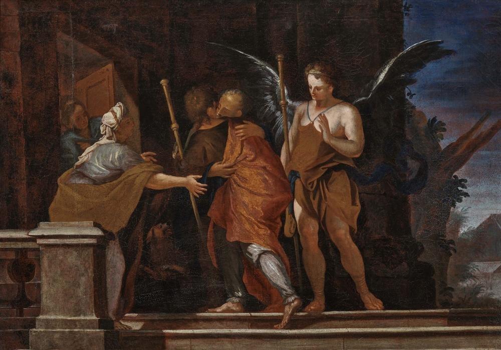 Dutch School (?), 17th century The Farewell of Tobias