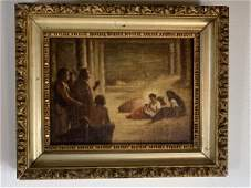 19th Century Manger Scene Painting