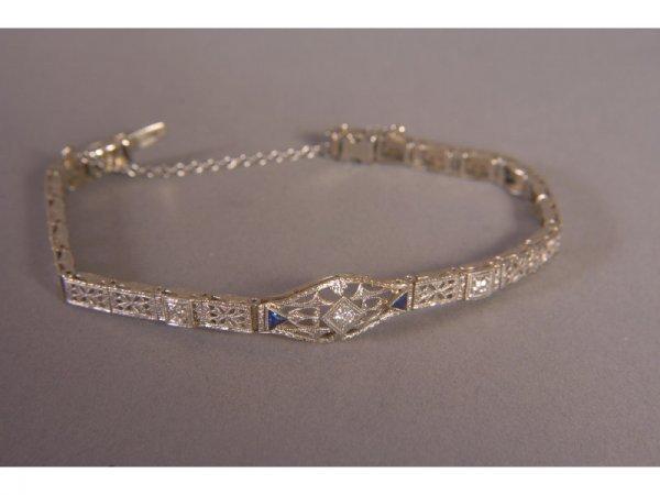 1: 14K WHITE GOLD DIAMOND SAPPHIRE FILIGREE BRACELET
