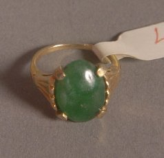 6: TIFFANY AND CO. 14K GOLD AND JADE RING