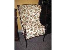 208A CARVED WING CHAIR