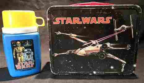 1977 Star Wars Metal LUNCHBOX & THERMOS King-Seeley 1st