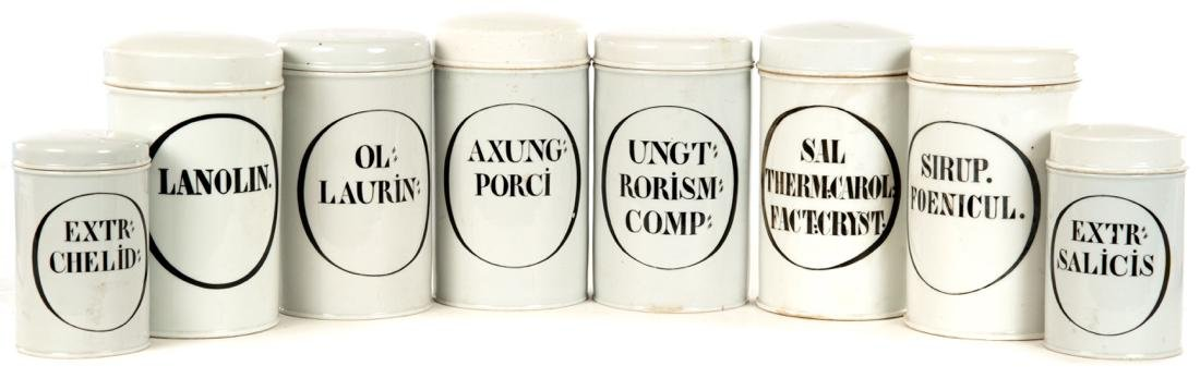 Eight French Porcelain Apothecary Jars