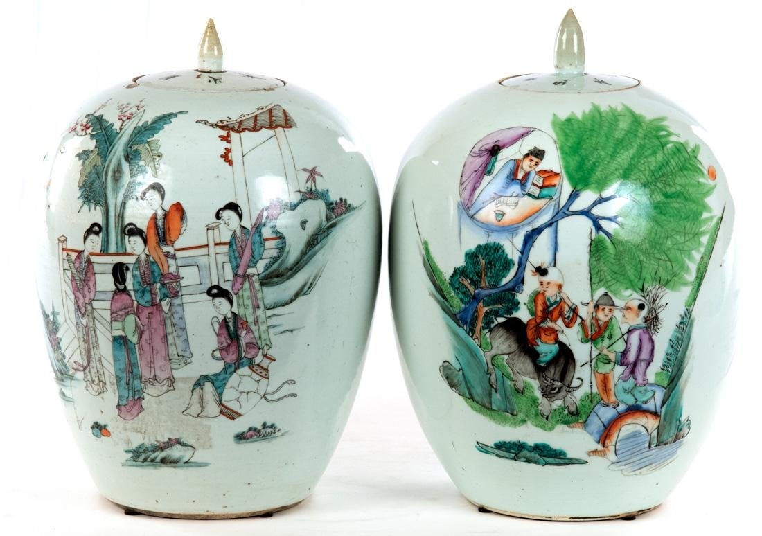 Pair of Famille Verte Chinese Vases c. 1900