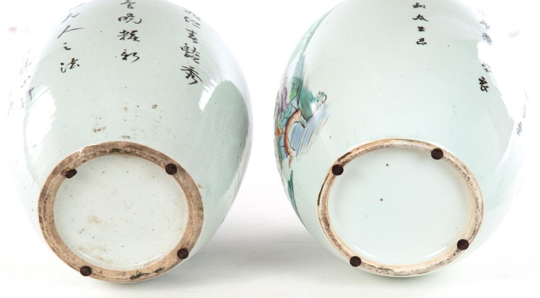 Pair of Famille Verte Chinese Vases c. 1900 - 6