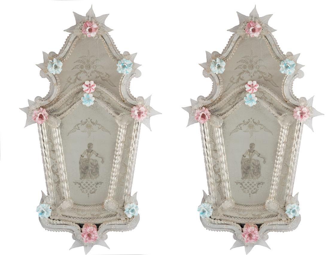 Pair of Venetian Glass Mirrors (c. 1860)