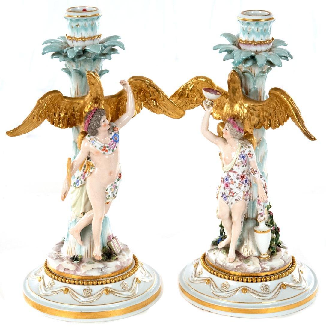 Pair Meissen Figural Candlesticks