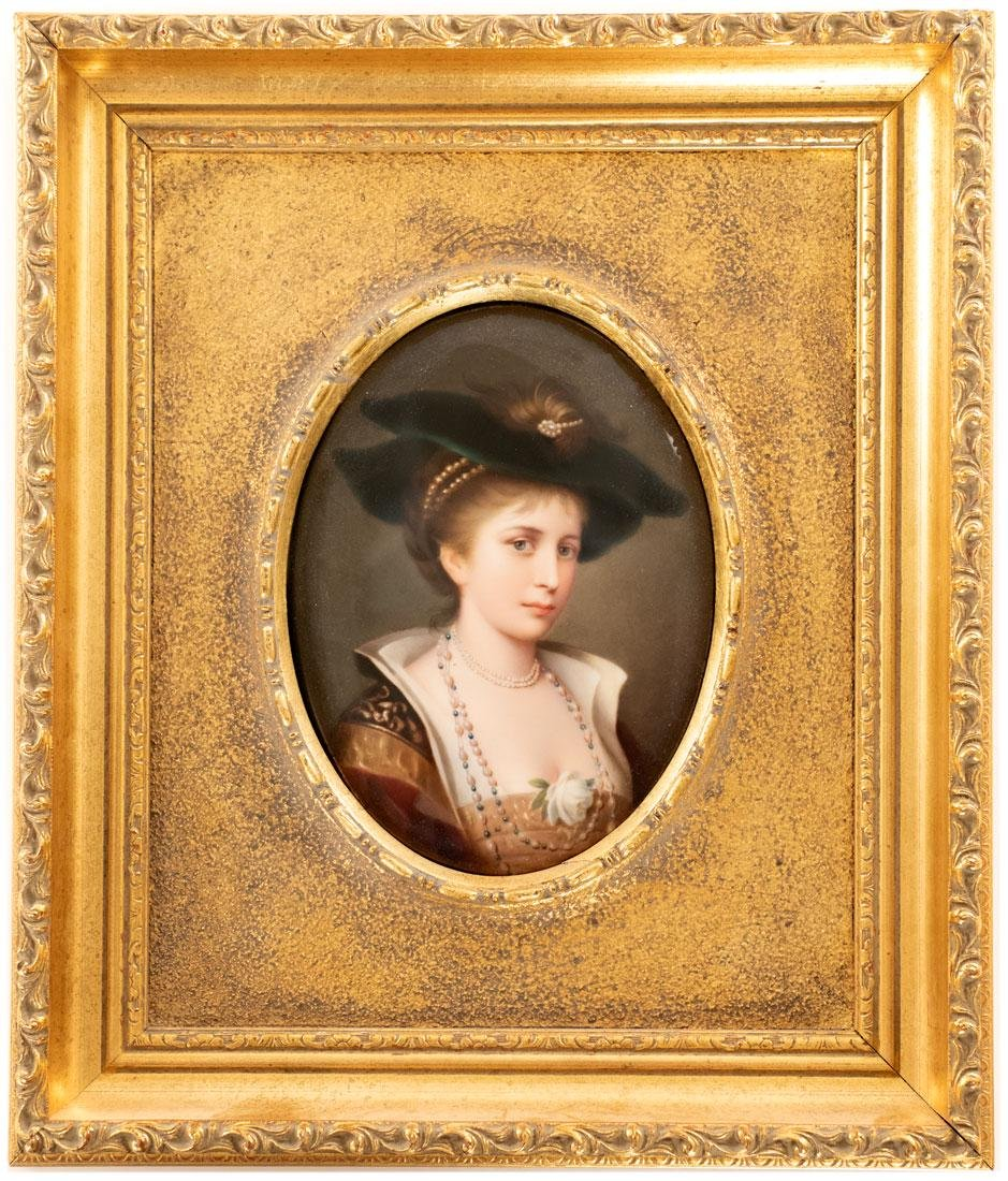 Framed KPM Portrait of Fine Woman in Gilt Frame