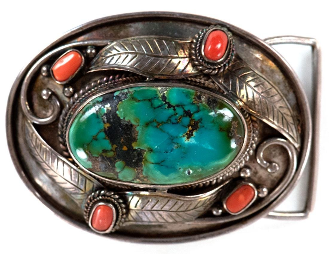 Navajo Silver, Turquoise, and Coral Belt Buckle