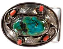 Navajo Silver Turquoise and Coral Belt Buckle