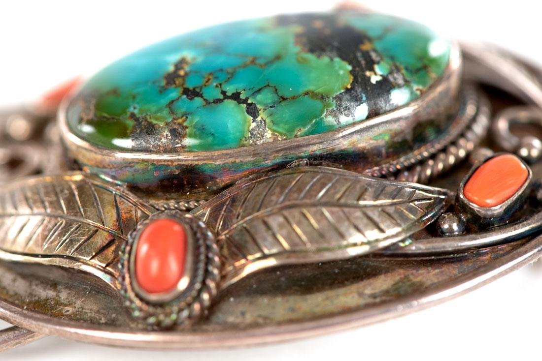 Navajo Silver, Turquoise, and Coral Belt Buckle - 2