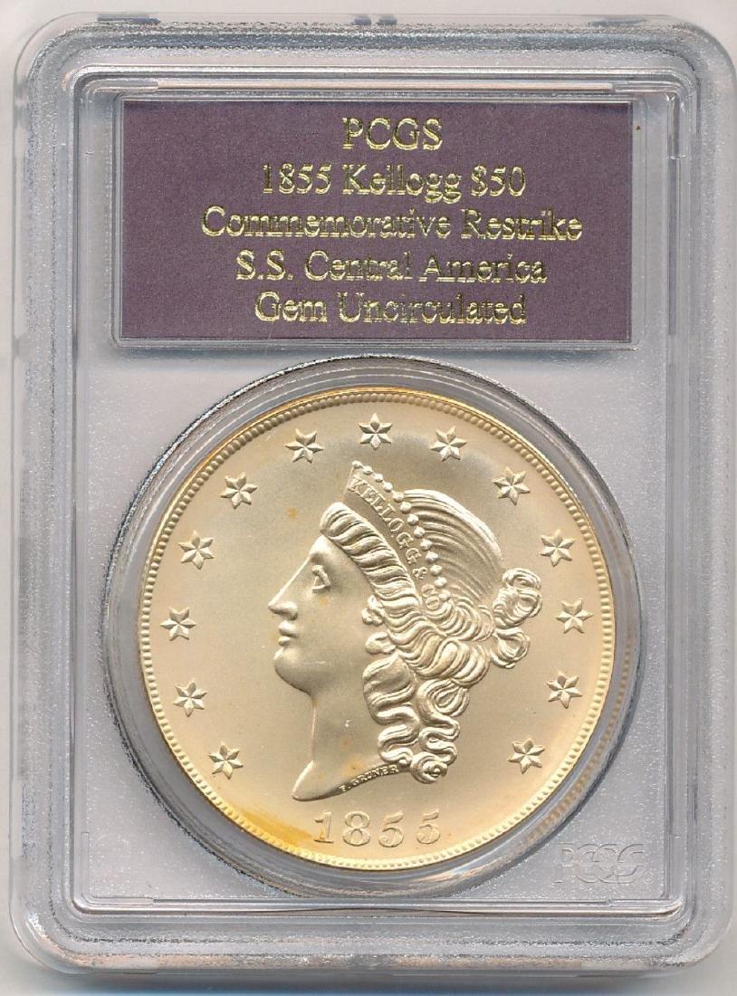 1855 Kellogg $50 Restrike SS Central America Gold