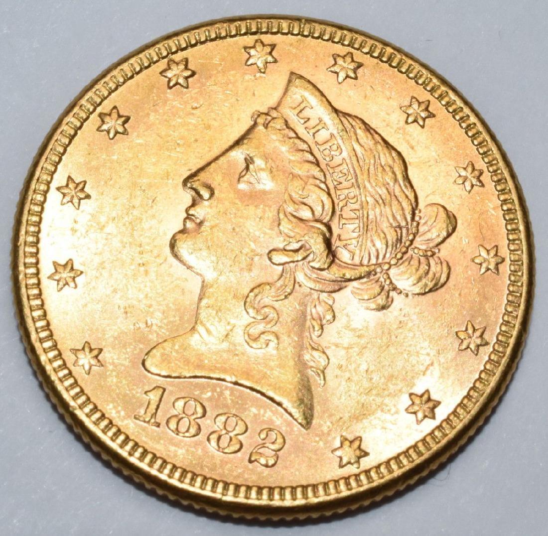 1882 $10 Gold Liberty MS62+ PL