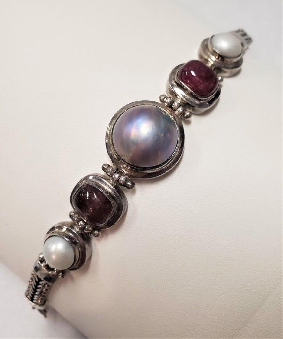 ANCIENT .925 STERLING SILVER BRACELET W/ STONES 7.5""