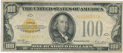 1928 $100 GOLD CERTIFICATE FINE FR. 1187