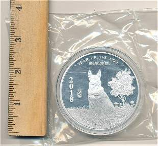 RARE 2018 YEAR OF THE DOG 5 OZ SILVER ROUND