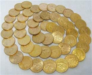 TEN (10) $20 LIBERTY GOLD AU DETAIL