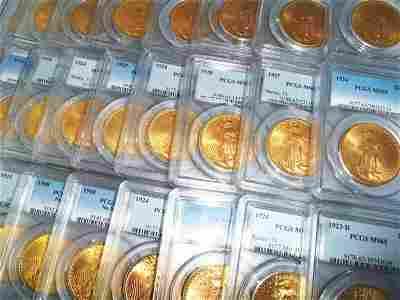 LOT OF (10) MS 65 $20.00 GOLD SAINT GAUDENS