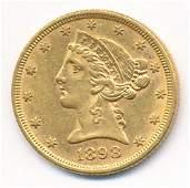 1898 MS63 $5 LIBERTY GOLD