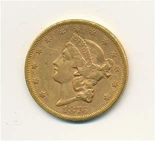 1876-S $20 GOLD LIBERTY TYPE 2 AU