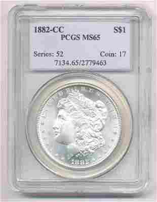 1882-CC CARSON CITY MORGAN DOLLAR PCGS MS 65
