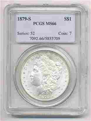 1879-S MORGAN SILVER DOLLAR PCGS MS 66