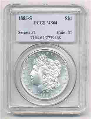 1885-S MORGAN SILVER DOLLAR PCGS MS 64