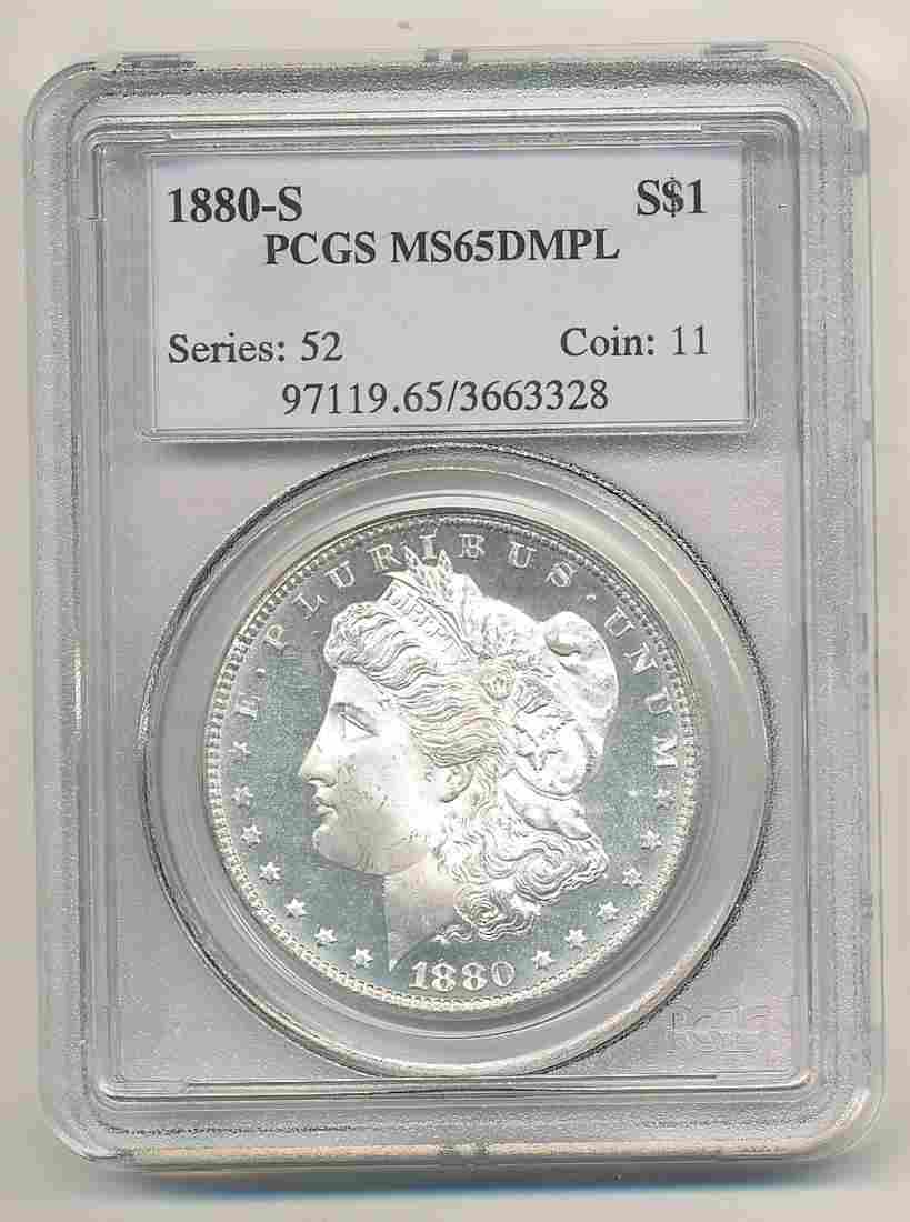 1880-S MORGAN SILVER $1 PCGS MS65DMPL