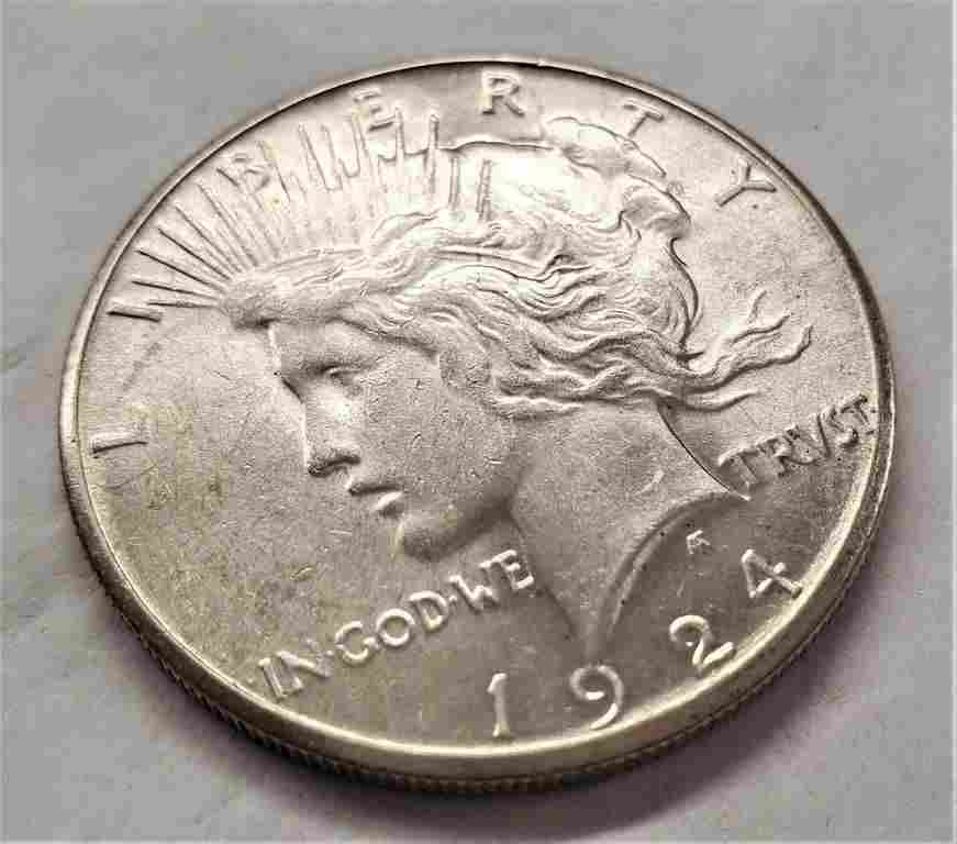 1924-S MS63 PEACE DOLLAR SILVER DOLLAR