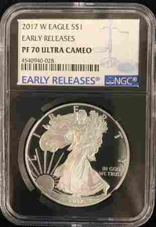 2017 W PROOF SILVER EAGLE NGC PROOF 70