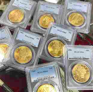 TEN (10) $20 LIBERTY GOLD PCGS MS64