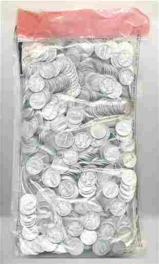 SEALED EVIDENCE BAG MERCURY DIMES 1000-COINS