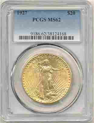 1927 $20 GOLD SAINT GAUDENS PCGS MS62