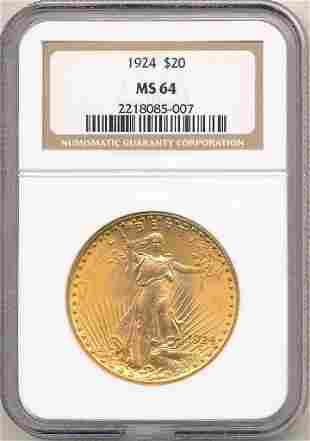 1924 $20 GOLD SAINT GAUDENS NGC MS64