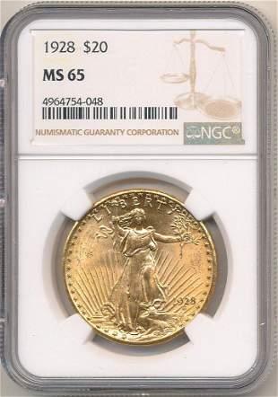 1928 $20 GOLD SAINT GAUDENS NGC MS65